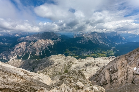 Summer view of mountain range Cristallo, above the town of Cortina dAmpezzo - Italy. photo