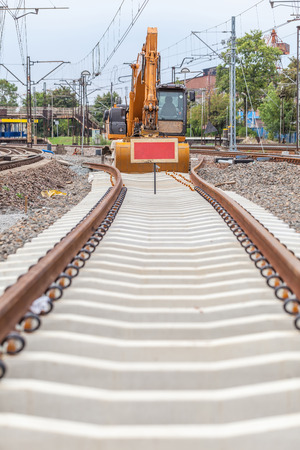 Changing tracks on a railway line photo