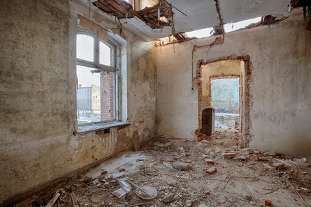 Interior of a ruined house photo