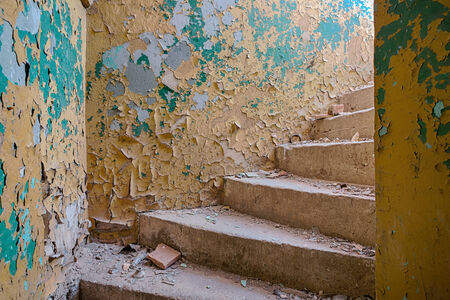 upper floor: Stairs to the upper floor of a ruined building Stock Photo