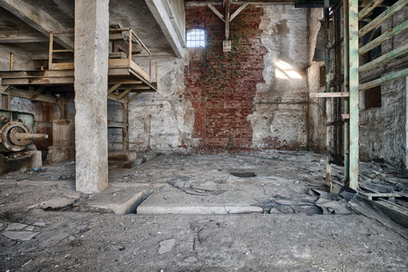 Interior of a ruined brick factory Stock fotó