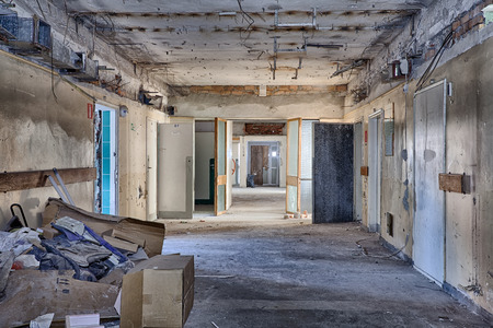 The interior of an abandoned building photo