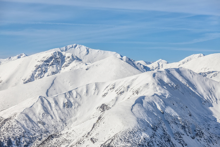 The peaks of the Tatra Mountains in the snow photo