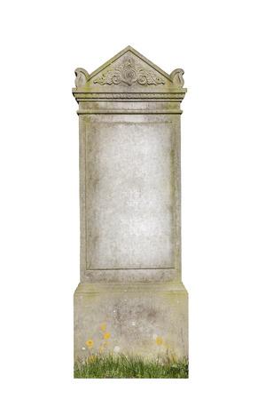 古い墓石を白で隔離されます。