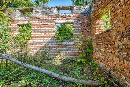 Overgrown ruins of an old manor house Stock Photo
