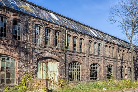 broken unity: Built of red brick, historic shipyard hall
