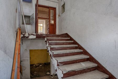 Destroyed staircase inside the building