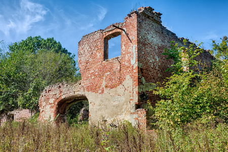 Overgrown ruins of an old manor house photo