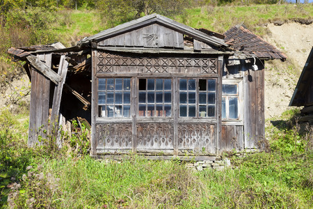 shack: Abandoned wooden shack in the mountains
