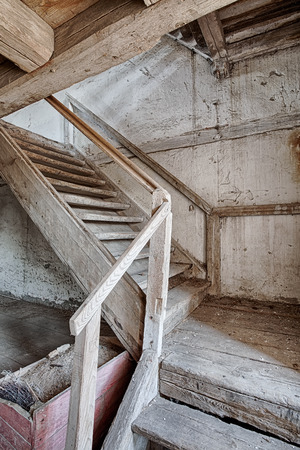 forgotten: Old stairs inside a forgotten home Stock Photo