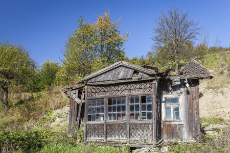 Abandoned wooden shack in the mountains