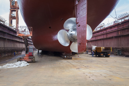 The new propeller mounted on a refurbished ship