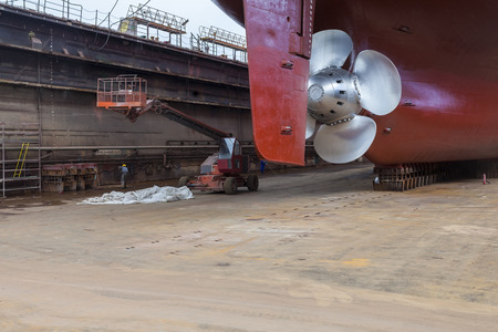refurbished: The new propeller mounted on a refurbished ship