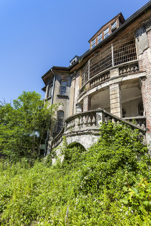 overgrown: Overgrown ruins of an old manor house Stock Photo