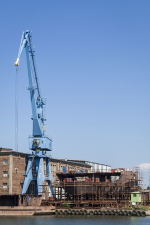 hull: Construction of hull of the ship in a shipyard