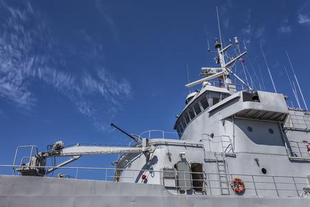 moored: Battleship moored in the port