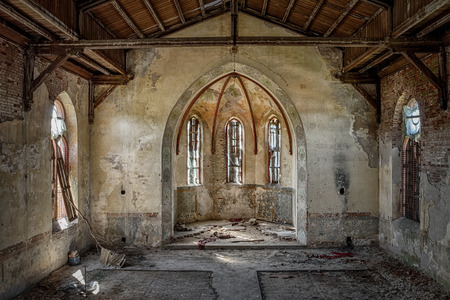 church window: The interior of an abandoned church
