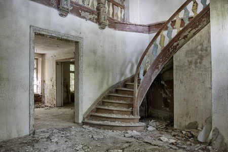 The interior of an abandoned mansion