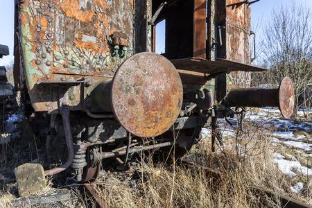 buffers: A rusty old railway wagon bumpers Stock Photo