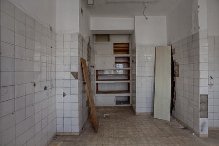 building backgrounds: The interior of an abandoned hospital building Stock Photo
