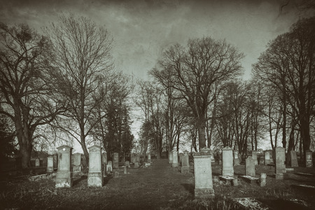 Historic cemetery in the photograph dressed up as old