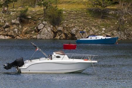 motor boats: Motor boats moored in the bay Stock Photo