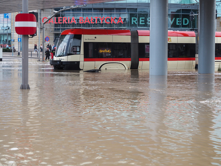 rains: Gdansk - July 15: Flooded streets after heavy rains, 2016 July 15 in Gdansk, Poland