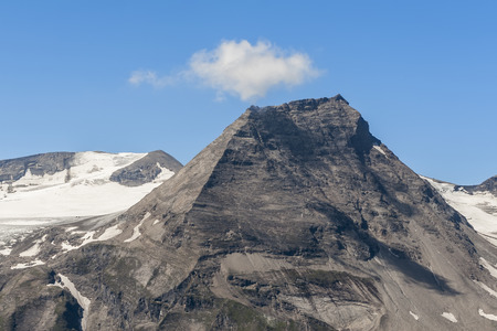 A view of the mountain peak in the Alps