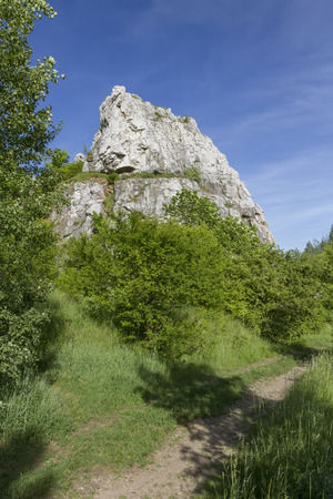 Hilly landscape with Jurassic limestone rocks
