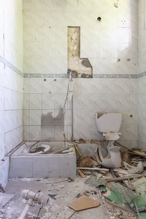 Bathroom in the destroyed building
