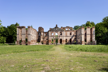 Ruins of the baroque palace in Kamieniec - Poland Banco de Imagens