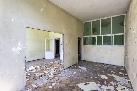 Destroyed room inside the building