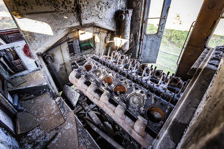 Old diesel  engine in railbus