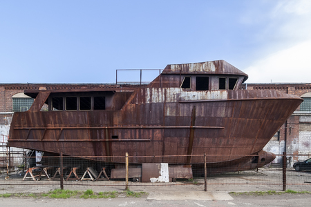 Rusty, abandoned ship under construction Banco de Imagens