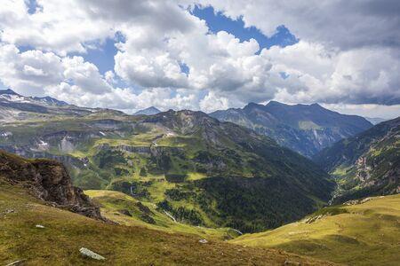High Alpine Road. Aerial view. Banco de Imagens