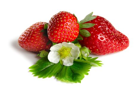 detail of bunch: Strawberries and flowers on white background