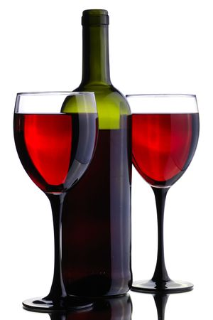 wine bottle and glass on the white background photo
