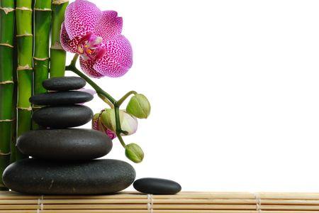 bambu: Rosa orhid y piedras sobre el fondo blanco