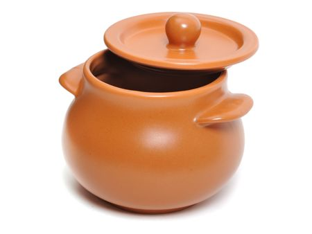 clay pot: Ceramic pot on the white background