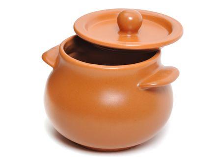 lids: Ceramic pot on the white background