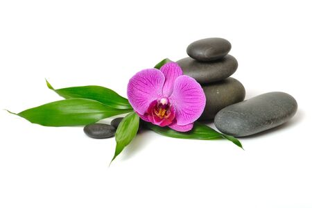 stacking: Pink orchid and stones on the white background Stock Photo