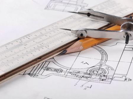 industrial engineering: Detalle de dibujo y herramientas de dibujo  Foto de archivo
