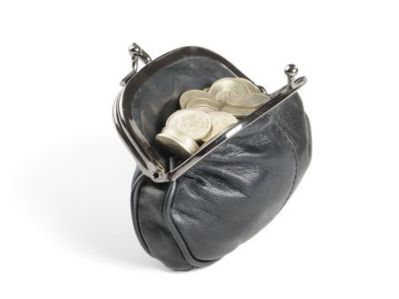 purse with coins  on the white backgroun photo