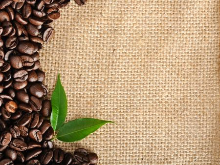 burlap texture: coffee border Stock Photo