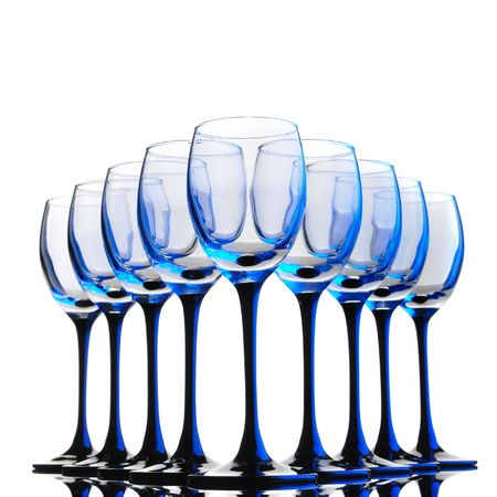 group empty wine  glass isolated on white photo