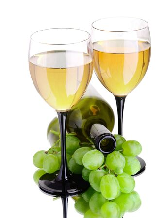 wine bottle and wineglass on the white background photo