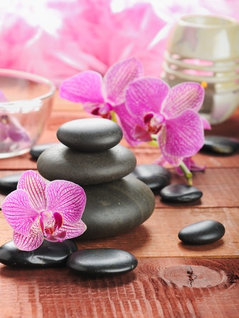 hot rock therapy: zen stones and pink orchid