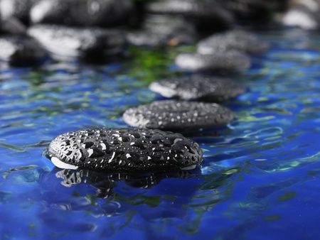 stone therapy: zen stones and green bamboo in the water