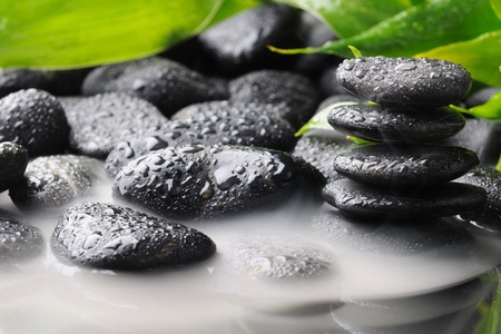 zen stones and green bamboo in the smoke Stock Photo - 8314989