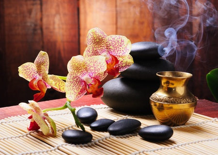 spa concept with orchid and zen stones photo